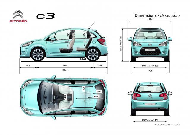 Nový Citroen C3 - rozmery